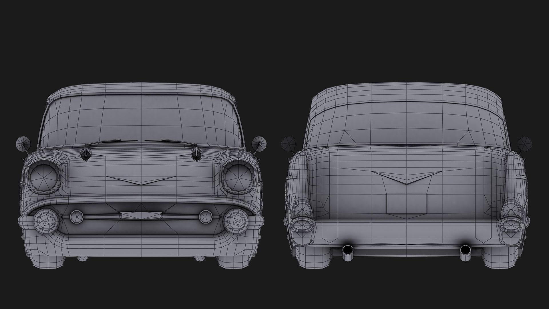 Chevrolet_Bel_Air_1957_Back&Front_wireframe
